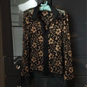 Cache lace zip up blazer/ blouse